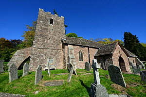 Cwmyoy Church, the tower leans 5.2 degrees from the perpendicular, due to post glacial landslips occurring on Cwmyoy Graig, the church is located on its lower slope, Brecon Beacons National Park, Monm...  -  Will Watson