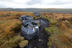 Path and moorland restoration with bags of stone dropped by heliicopter, Bwlch Bach, Brecon Beacons National Park, Breconshire, Wales, October 2018. - Will Watson