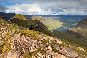 View down Coire a Chaorachain to Loch Coire Nan Arr with Loch Kishorn in distance. Wester Ross, Highlands, Scotland, UK.  -  SCOTLAND: The Big Picture