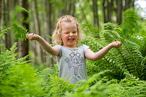 Girl exploring amongsts ferns during forest kindergarten session. Aberdeen, Aberdeenshire, Scotland, UK. Editorial use only  -  SCOTLAND: The Big Picture