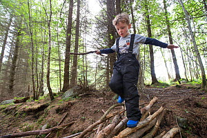 Boy exploring woodland during forest kindergarten session. Aberdeen, Aberdeenshire, Scotland, UK. Editorial use only  -  SCOTLAND: The Big Picture