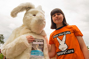 Staff of OneKind animal welfare charity raising awareness of Mountain hare (Lepus timidus) persecution on Grouse Moors as part of Hen Harrier Day. Boat of Garten, Cairngorms National Park, Scotland, U... - SCOTLAND: The Big Picture
