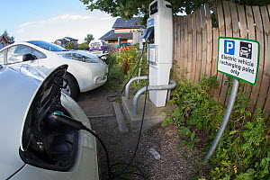 Electric cars charging at Findhorn Foundation, Moray, Scotland, UK.  -  SCOTLAND: The Big Picture