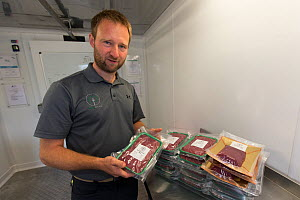 Owner of wild venison business, Forest to Fork, with meat products. Culbokie, Ross and Cromarty, Scotland, UK.  -  SCOTLAND: The Big Picture