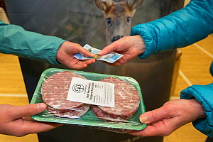 Wild venison producer, Forest to Fork, selling burgers at Farmers Market. Culbokie, Ross and Cromarty, Scotland, UK.  -  SCOTLAND: The Big Picture