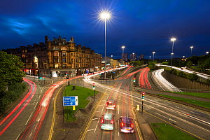 Evening rush hour with trails from car lights, long exposure. Charing Cross, Glasgow, Scotland, UK. - SCOTLAND: The Big Picture