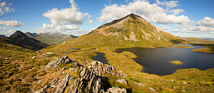 Lochan Coire an Lochain with Sgur Eilde Mor behind, in evening light. The Mamores, near Kinlochleven, Highlands, Scotland, UK. July  -  SCOTLAND: The Big Picture