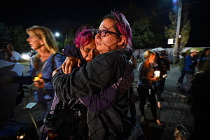 Save Movement activists comfort one another outside at Toronto Chicken Save vigil outside a chicken slaughterhouse. Toronto, Canada. August 2015. � Jo-Anne McArthur / Toronto Chicken Save / naturepl.c...  -  Jo-Anne McArthur / We Animals