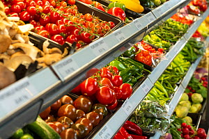Various fruit and vegetables on dispaly in a super market, North London, England, UK. - Matthew Maran