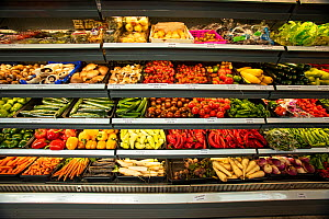 Various fruit and vegetables on display in a super market, North London, England, UK.  -  Matthew Maran