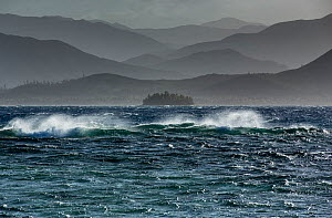 South-east trade wind whipping up the sea on the Southern Lagoon, Forgotten Coast, Lagoons of New Caledonia: Reef Diversity and Associated Ecosystems UNESCO World Heritage Site. New Caledonia.  -  Duncan Murrell