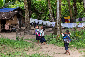 Batak children returning from school, Sitio Manggapin, Cleopatra's Needle Critical Habitat, Palawan, the Philippines. - Duncan Murrell
