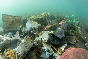 Underwater plastic rubbish such as single use plastic bottles, cups, packaging, labels, waste and woven sacks polluting a coral reef, Sulawesi, Indonesia. November 2018. - Jurgen Freund
