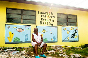 Mural painted on the side of a small grocery store on Eleuthera Island, Bahamas depicting how the fate of the Bahamian fishery is tied closely to that of the invasive lionfish (Pterois volitans). Eleu...  -  Shane Gross