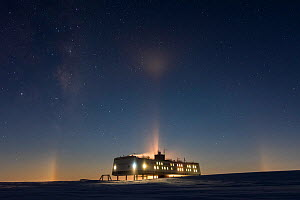 Milky way and moonbow halo during polar night. Above Neumayer-Station III, Alfred-Wegener-Institut research station, Atka Bay, Antarctica. June 2017. - Stefan Christmann