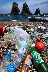 Plastic bottles and other rubbish, found on a beach in Yamaguchi Prefecture, Japan.  -  Tony Wu