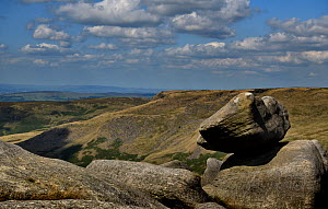 Perched boulder of Carboniferous age Millstone Grit on the western edge of the Kinder Scout plateau. Derbyshire, UK, September  -  Graham Eaton