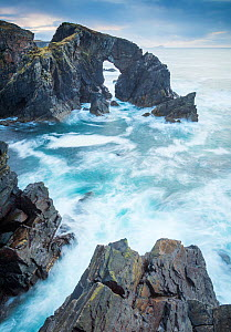 Stac a Phris sea arch with crashing waves on the west coat of the isle of Lewis, Outer hebrides, scotland, uk  -  SCOTLAND: The Big Picture
