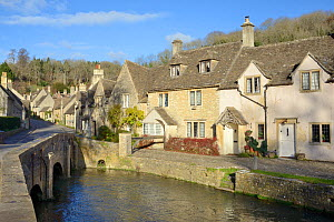 Bridge over the Bybrook river and medieval street in the Cotswolds village of Castle Combe, Wiltshire, UK, November 2017.  -  Nick Upton