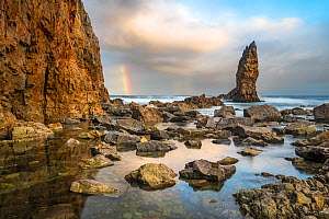 Double rainbow just after sunrise photographed at Playa de Portizuelo near Luarca, Asturias, Northwest Spain. November 2016 - Theo  Bosboom