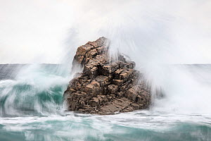 Rock hit by a wave at high tide. Cadavedo, Asturias, Northwest Spain. November 2016  -  Theo  Bosboom