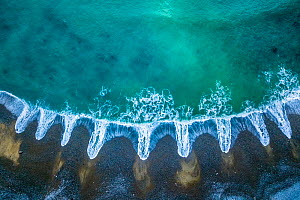 Aerial of patterns of receding waves, Playa del Silencio, Asturias, Spain. April 2018  -  Theo  Bosboom
