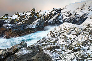 Snow covered jagged rocks with lichen along the coast of Varanger peninsula, close to the city of Vardo, Norway. February 2017.  -  Theo  Bosboom