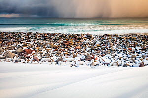 Sun rays through stormy clouds, and snow covered beach, Varanger Peninsula, Norway. March. - Theo  Bosboom
