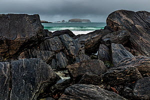 View from Bosta beach on the Bernera peninsula on the isle of Lewis, Outer Hebrides, Scotland. February 2018  -  Theo  Bosboom
