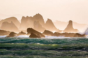 Rocks and sea stacks in the surf at Playa del Silencio in Asturias on the Northwest coast of Spain. May 2015  -  Theo  Bosboom