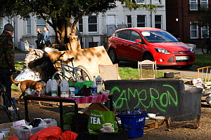 A homeless camp protesting against local authority, Brighton, UK. April 2017.  -  David  Woodfall