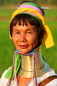 Head portrait of a Kayan Lahwi woman with brass neck coils and traditional clothing. The Long Neck Kayan (also called Padaung in Burmese) are a sub-group of the Karen ethnic people from Burma. They we...  -  Eric Baccega