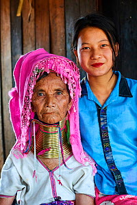 Portrait of an old Kayan Lahwi woman with brass neck coils and traditional clothing with her grand daughter, who does not wear the rings. The Long Neck Kayan (also called Padaung in Burmese) are a sub...  -  Eric Baccega