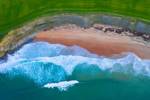 Aerial view of waves rolling over Langre beach, Cantabria, Spain, February.  -  Juan  Carlos Munoz