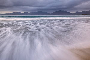 RF - View across Sound of Taransay from Luskentyre beach in stormy weather, Isle of Lewis and Harris, Outer Hebrides, Scotland, UK. October 2018 (This image may be licensed either as rights managed or...  -  Ross Hoddinott