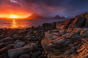 Sunset over the Cullin Mountains from Elgol shoreline, Isle of Skye, Scotland, UK, April.  -  SCOTLAND: The Big Picture