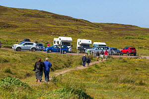 Car park and people on footpath, Achnahaird Bay, Coigach and Assynt Living Landscape, Scotland, UK.July  -  SCOTLAND: The Big Picture
