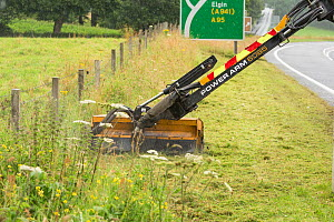 Highway maintainance mowing roadside verge, destroying grassland flowers and plants, A95 near Aviemore, Cairngorms National Park, Scotland, UK. July 2016. - SCOTLAND: The Big Picture