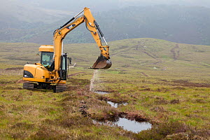 Creating pools on upland peat moor to retain rainwater and create wetland habitat more suitable for sphagnum moss, Alladale Estate, Sutherland, Scotland, UK.July - SCOTLAND: The Big Picture