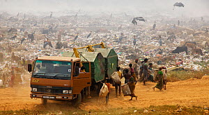 Inhabitants of landfill site gathering around at arrival of new skips. Guwahati, Assam, India. 2009.  -  Tony Heald
