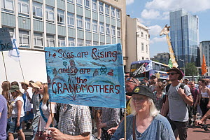 'The seas are rising and so are the grandmothers' banner at Extinction Rebellion climate change protest march. Bristol, England, UK. 16 July 2019.  -  Ben Gillett
