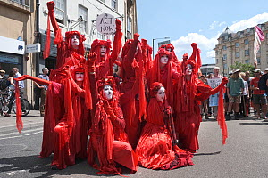 The Red Brigade performance artists at Extinction Rebellion climate change protest. Bristol, England, UK. 16 July 2019.  -  Ben Gillett