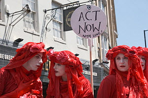 The Red Brigade performance artists with 'Act Now with love!' placard. Extinction Rebellion climate change protest, Bristol, England, UK. 16 July 2019.  -  Ben Gillett