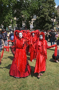 The Red Brigade performance artists at Extinction Rebellion protest rally. Bristol, England, UK. 16 July 2019.  -  Ben Gillett