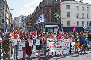 Extinction Rebellion climate change protesters marching through city centre. Bristol, England, UK. 16 July 2019.  -  Ben Gillett