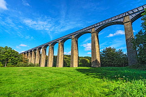 Pont-Cysyllte aqueduct over the River Dee viewed from the west side, Vale of Llangollen, North Wales, UK, September 2018. - Alan  Williams
