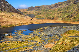 Looking east across Lake Cwmorthin showing the remains and spoil from the disused slate mine with Cnicht mountain covered in mist in the background, North Wales, UK, April 2018  -  Alan  Williams