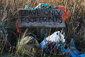 'Leave only footprints' sign with rubbish collected by volunteers from Rhosilli beach, Gower, South Wales, UK. March 2019. - David  Woodfall