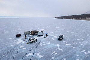 Dive camp of Swiss-Russian dive team on frozen Lake Baikal. Near shore, aerial shot. Photographed for The Freshwater Project extended. Near Khuzhir, Olchon Island, Irkutsk Oblast and Buryat Republic,... - Michel  Roggo