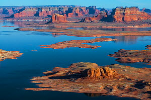 Shoreline of Lake Powell, seen from Alstrom Point on Romana Mesa. Glen Canyon National Recreation Area, on the Arizona/Utah border, USA, January.  -  John Shaw